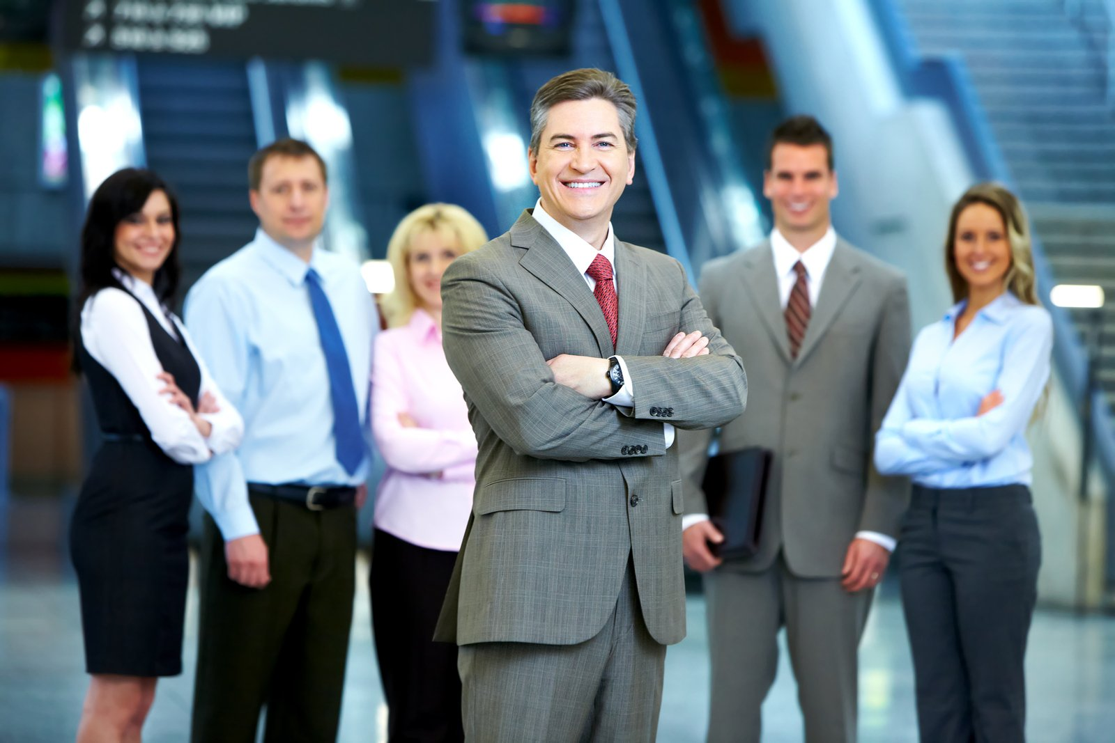 image of a group of business people in a modern hall